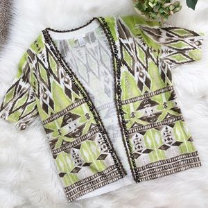 CHICO'S TRIBAL DIAMOND DABNEY CARDIGAN